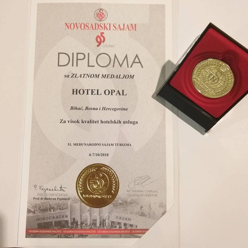 Zlatna medalja za visok kvalitet hotelskih usluga!